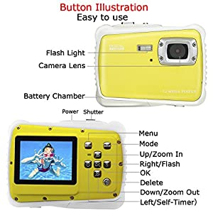 Digital Camera for Kids Waterproof Camo Underwater Camcorder Action Durable Came 2.0 Inch TFT Display Children (Yellow)