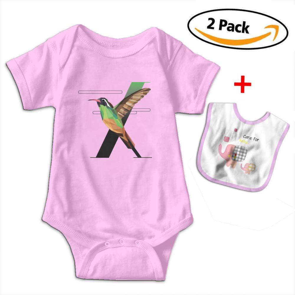 X For Bird Fly Baby Bodysuits Funny Short Sleeve