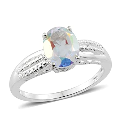 Coated Mercury Glow Quartz Solitaire Ring in Sterling Silver 2.25 Ct VLFZyuFJyJ