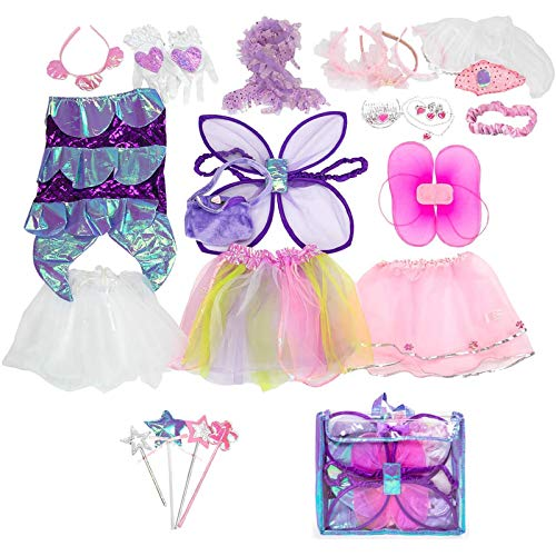 Sinuo Girls Dress Up Costume Set, Fairy and Mermaid Role Play Dress-up Trunk with Accessories 25pcs Girls Pretend Play Costume for Kids Age from 2-5