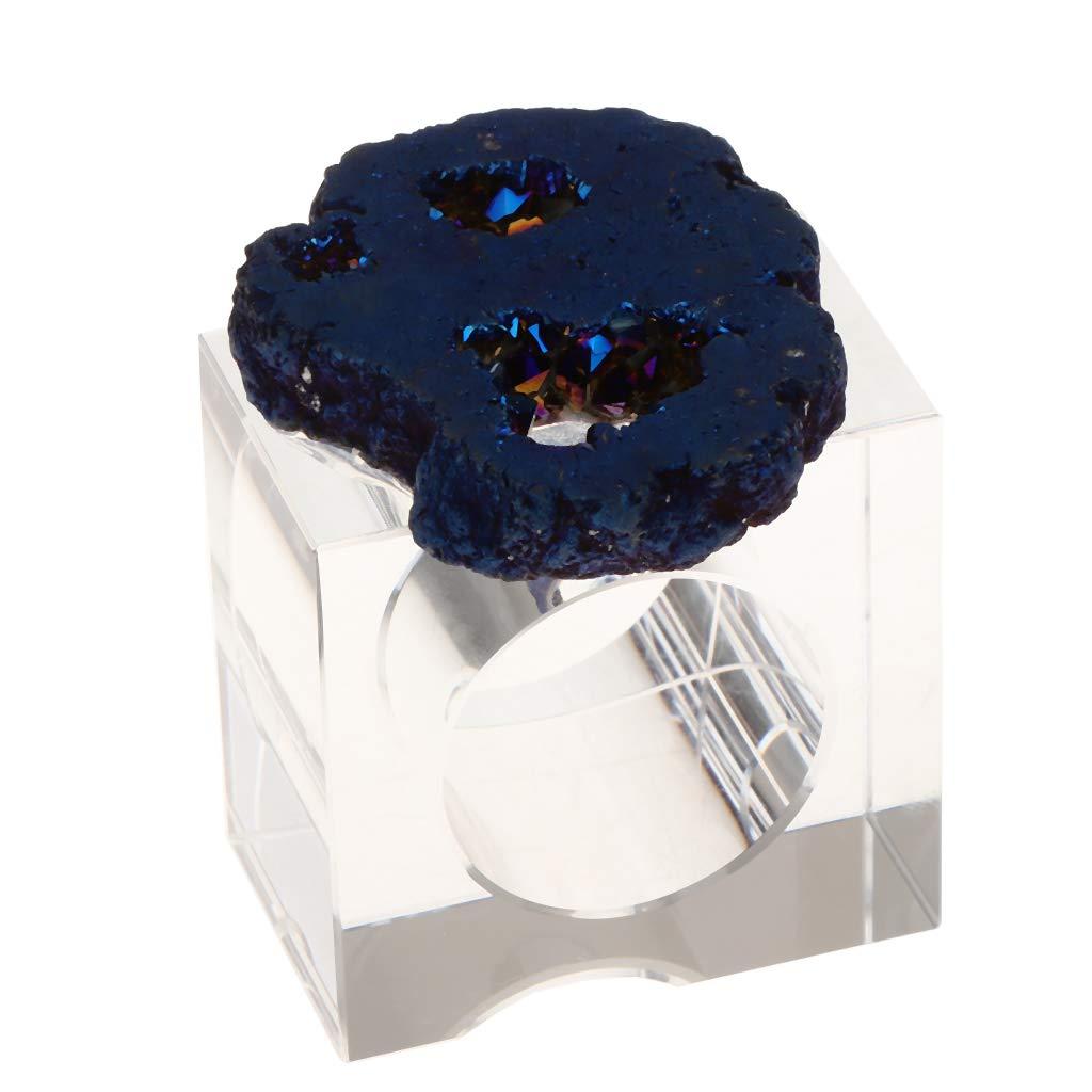 Baoblaze Bellissimo Portatovagliolo Elegante E Lucido in Cristallo,Circa 5Cm di Larghezza E Lunghezza,Perfetto da Esibire su Qualsiasi Tavolo da Pranzo - Bianca, Come descritto