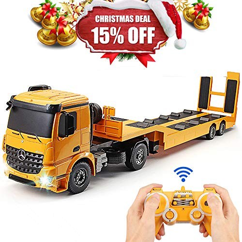 DOUBLE  E RC Tow Truck Licensed Mercedes-Benz Acros Detachable Flatbed Semi-Trailer Engineering Tractor Remote Control Trailer Truck Electronics Hobby Toy with Sound and Lights ¡ ()