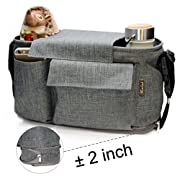 Airlab Stroller Organizer, Parents Organizer Bag, 2 inch Enlarge, Deep Bottle Cup Holder, Extra-Large Storage Space Fits Universal Stroller for Baby Accessories, Diapers, iPhone, Wallets, Waterproof