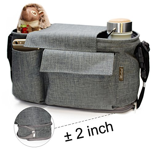 Airlab Stroller Organizer, Parents Organizer Bag, 2 inch Enlarge, Deep Bottle Cup Holder, Extra-Large Storage Space Fits Universal Stroller for Baby Accessories, Diapers, iPhone, Wallets, Waterproof by Airlab