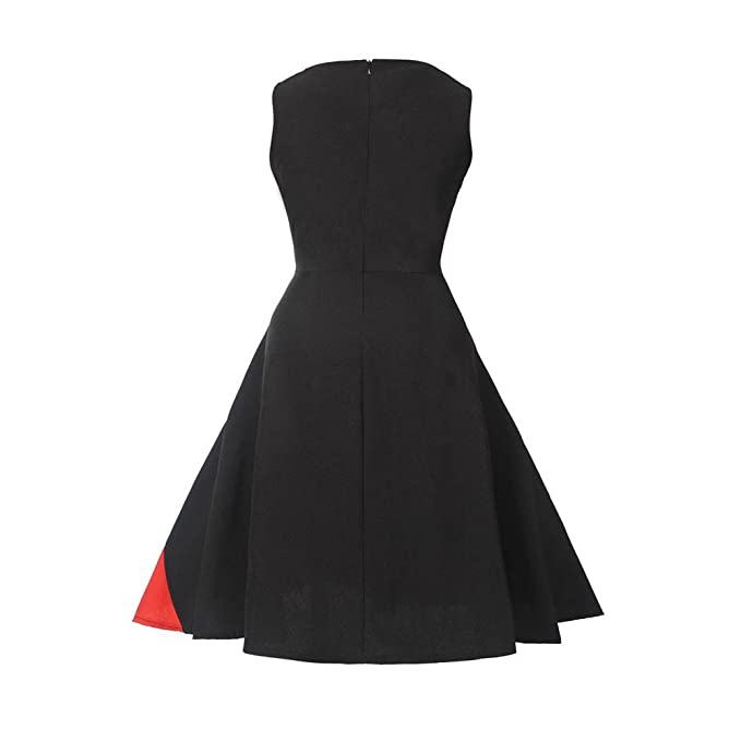 Overdose Women Dress Vintage Sleeveless Floral Swing Evening Party Prom Dress: Amazon.co.uk: Clothing
