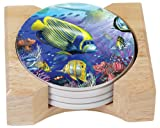 CounterArt Angels of the Sea Design Absorbent Coasters in Wooden Holder, Set of 4