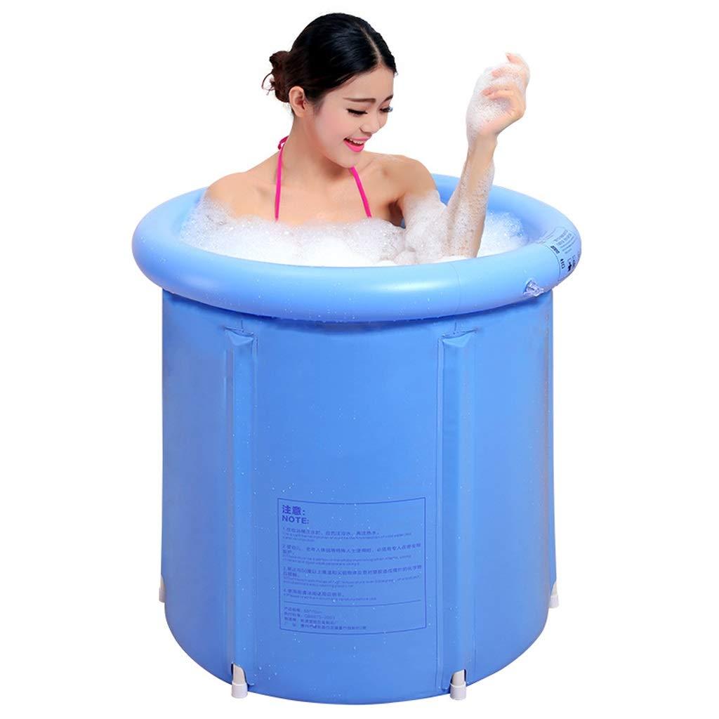 ZH1 Planschbecken Faltbare Badewanne, aufblasbare Badewanne, dicken Kunststoff tragbar, warme Isolierung, für Erwachsene Kinder Haushalt blau (Farbe   S) S