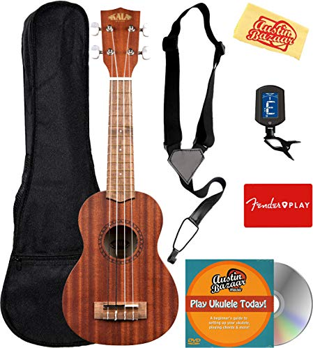 Kala KA-15S Satin Mahogany Soprano Ukulele Bundle with Gig Bag, Tuner, Strap, Fender Play, Austin Bazaar Instructional DVD, and Polishing Cloth (Best Soprano Ukulele Under 100)