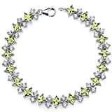 Peridot Bracelet Sterling Silver Princess Cut 12.50 Carats
