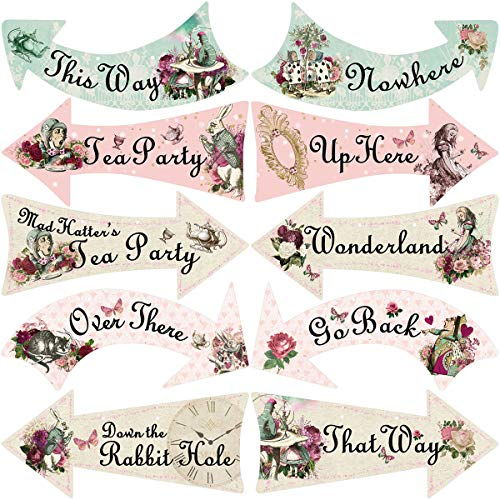 Truly Alice Arrow Hanging Signs Cutouts for Tea Party Decoration 10 Pcs -