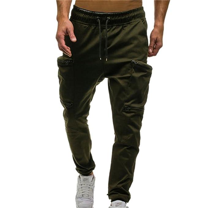 f850c3141c Hombres Corte Ajustado Deportes Pantalones Bolsillo Ocio Pantalones Color  sólido Camuflaje Deportes Pantalones Caqui Gris   Verde Negro   Rojo Verde  ...