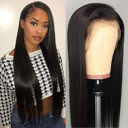 DACHIC 13x4 Lace Front Human Hair Wigs for Women Brazilian Straight Hair Wigs with Baby Hair Pre Plucked Natural Hairline (18 Inch, 130% Density)