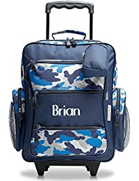 "Personalized Rolling Luggage for Kids – Blue Camo Design, 5"" x 12"" x 20""H, By Lillian Vernon"