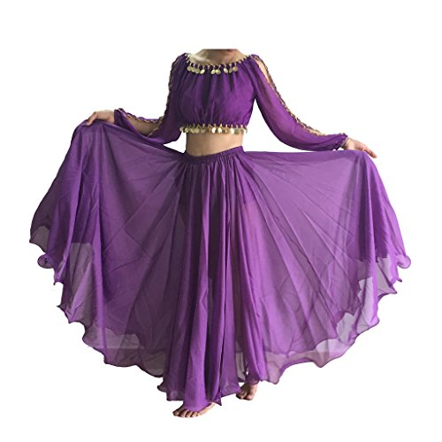 Wuchieal Women's Belly Dance Skirt Tribal Chiffon Full Skirt (Chiffon Circle Skirt)