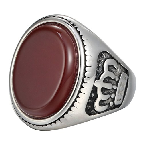 Men's Stainless Steel Large Vogue Red Oval Crystal Ruby Ring king Queen Crown Gear Signet Engraved - Kings Time Plaza