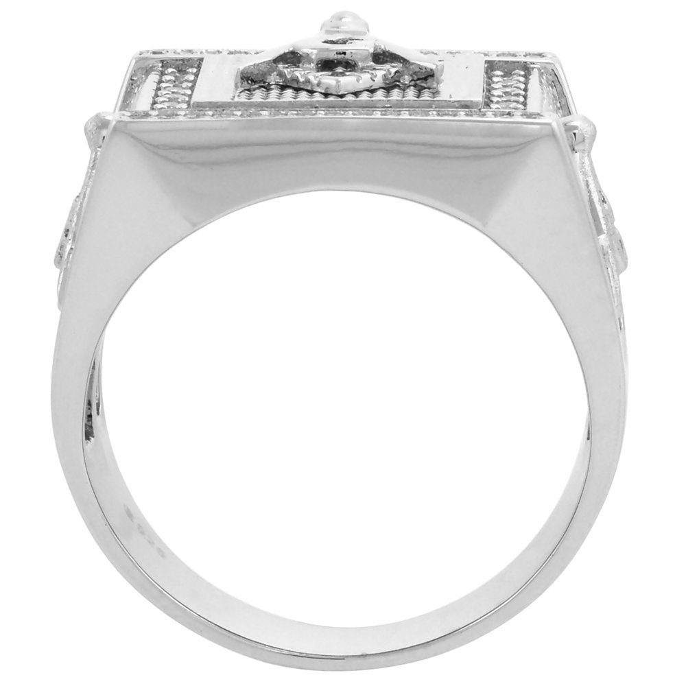 Sterling Silver Masonic Ring for Men Square /& Compass Rectangular 9//16 inch size 8-14