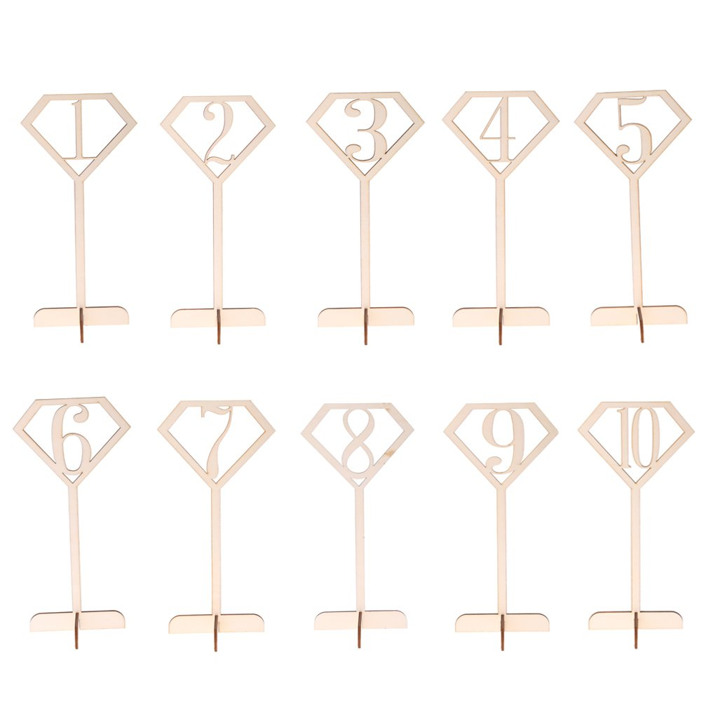MonkeyJack Pack of 10 Shabby Chic Diamond Wood Table Number Sign Stand Wedding Party Accessories 1-10/11-20 - 1 to 10, as described