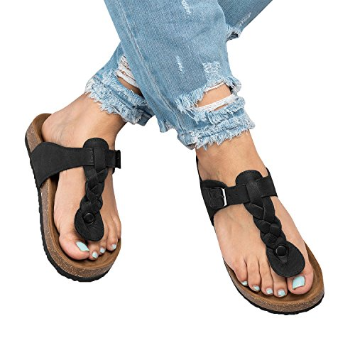 Pictures of Syktkmx Womens T Strap Flip Flops Slip 1