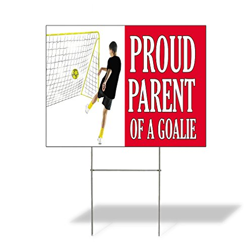 - Plastic Weatherproof Yard Sign Proud Parent of A Goalie Person Doing Soccer Cheerleading White Proud Parent for Sale Sign Multiple Quantities Available 18inx12in One Side Print One Sign