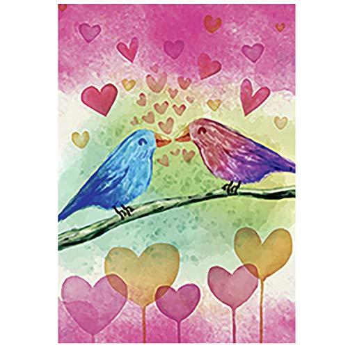 Morigins Pink and Blue Love Birds Valentine's Day Garden Flag Outdoor Yard Flag 12.5 x 18 Inch