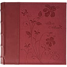 "Golden State Art Photo Album, Holds 200 4""x6"" Pictures, 2 Per Page, Faux Leather Vintage Inspired Cover, P52028-7 Marron"