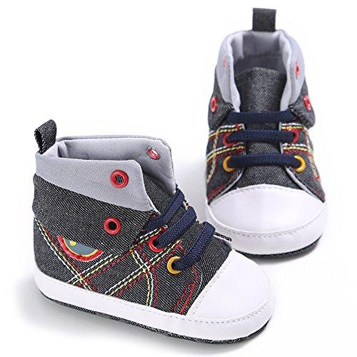 Zapato bebé Botas para bebé que aprende caminar 0-18 meses Botas de lona cómodo para bebé Suela antideslizante Luerme Negro