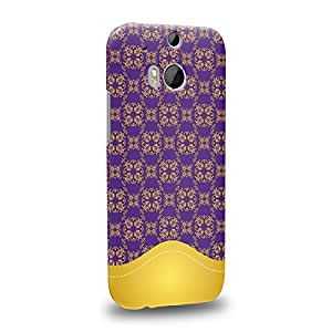 Case88 Premium Designs Art Collections Hand Drawing Aztec Mix Assorted Purple and Yellow Carcasa/Funda dura para el HTC One M8