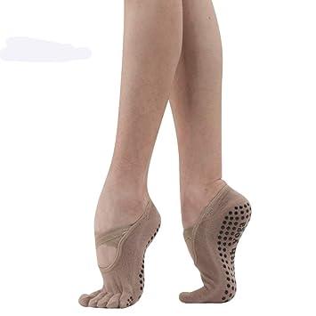 DYJILE Mujeres de Danza Yoga Calcetines Silicona Antideslizante Calcetines, Otoño e Invierno Cinco Calcetines del