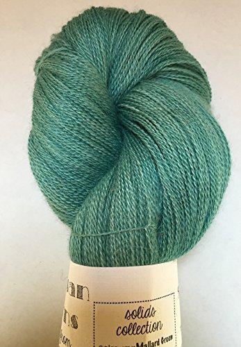 Artisan Yarns Hand Dyed Alpaca Silk Yarn, Solid Mallard Green, Lace Weight, 100 Grams, 875 Yards, 70/30 Baby Alpaca/Mulberry Silk