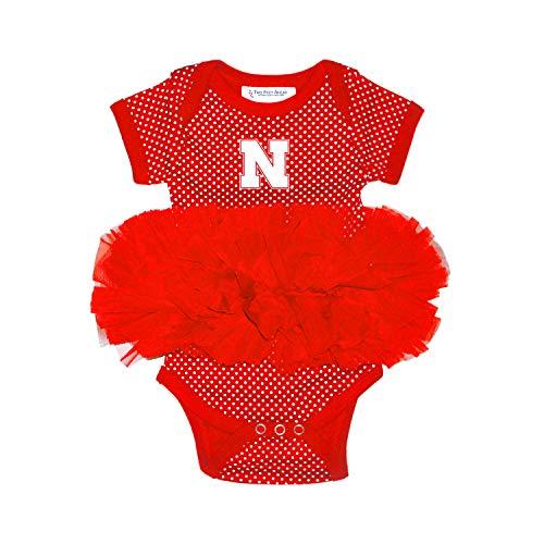 (Two Feet Ahead Nebraska Cornhuskers Newborn Infant Polka Dot Tutu Creeper Bodysuit (6 Months))