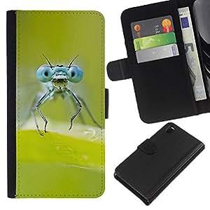 Protector de cuero de la PU de la cubierta del estilo de la carpeta del tirón BY RAYDREAMMM - Sony Xperia Z3 D6603 - Verde de insectos