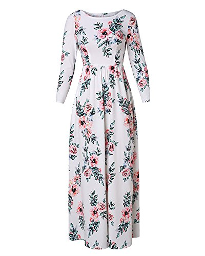 Pxmoda Women's Spring Fashion Printed Long Dress Three Quarter Sleeve Empire Flower Floor-length Dress,Green,XX-Large