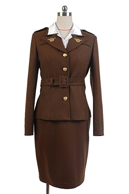 Vintage Tea Dresses, Floral Tea Dresses, Tea Length Dresses Sidnor Womens Officer Margaret/Peggy Carter Dress Cosplay Costume Uniform Suit  AT vintagedancer.com