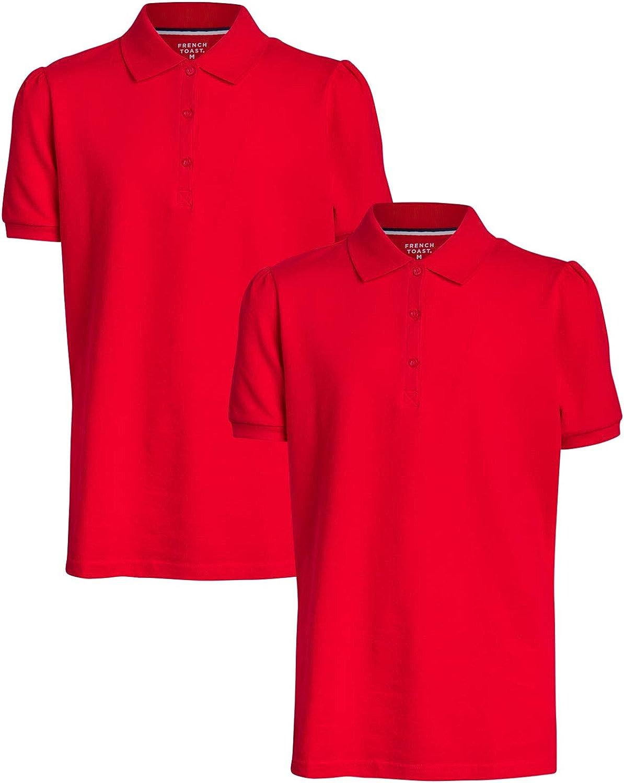 2 Pack French Toast Junior Girls School Uniform Piqu/é Short Sleeve Stretch Polo Shirts
