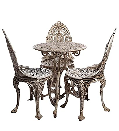 Karara Mujassme Victorian Style Antique Rusted White Garden Outdoor Cast Aluminium Set (3 Chairs And 1 Tables)
