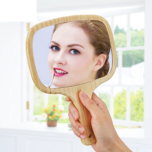 new Princess wooden handle in his hand in the mirror/ portable make-up mirrors/ hanging hand mirror-B