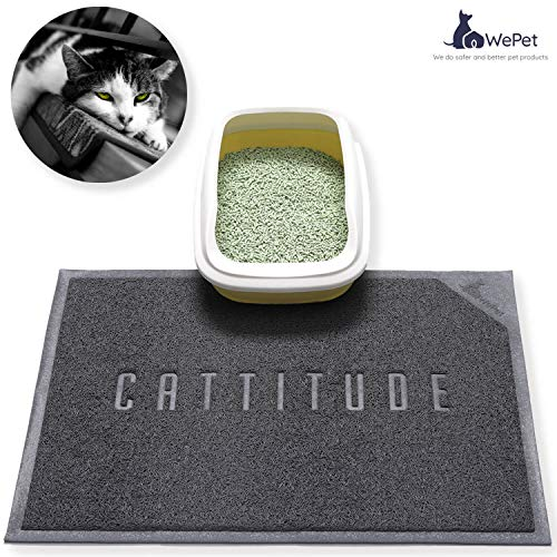 WePet Cat Litter Mat, Kitty Litter Trapping Mat, Large Size, Premium Durable Soft PVC Rug, No Phthalate Pad, Urine Water Resistant, Easy Clean, Scatter Control, Litter Box Carpet, 30 x 20 Inch Grey