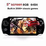 qiaoniuniu Handheld Game Console 8GB 64 Bit Portable Video Game Console 5 inch MP4 MP5 Players Built in 2000+classic games ebook/FM/3 MP Camera- Gifts for Boys Girls Kids Children