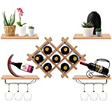 Giantex Set of 5 Wall Mount Wine Rack Set w/Storage Shelves and Glass Holder (Natural)