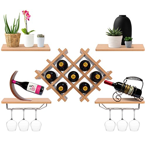 Giantex Set of 5 Wall Mount Wine Rack Set w/Storage Shelves and Glass Holder (Natural) by Giantex