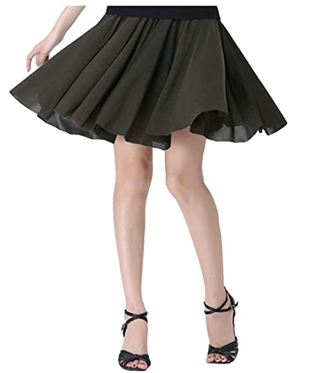 MJY Moda para mujer de talle alto Swing A-Line Prom Falda corta ...