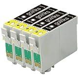 4x Compatible Cartouche d'encre noire imprimante pour remplacer T0711 pour une utilisation dans Epson Stylus D78 D92 D120 D5050 DX400 DX4000 DX4050 DX4400 DX4450 DX5000 DX5050 DX6000 DX6050 DX7000F DX7400 DX7450 DX8400 DX8450 DX9400 DX9400F BX300F BX310FN BX3450 SX115 SX200 SX205 SX210 SX215 SX218 SX400 SX405 SX415 SX600FW SX510W SX515W SX610FW