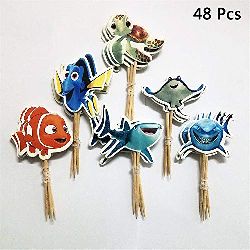 Finduat 48 Pcs Finding Nemo Themed Ocean Sea Animal Cake Cupcake Toppers for Kids Birthday Party Baby Shower Cake Decorative