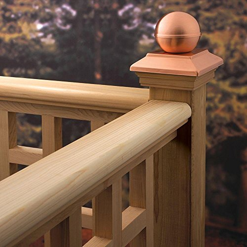 Pressure-Treated 4 in. x 4 in. Pine Copper Ball Top Post (Newel Ball Top)