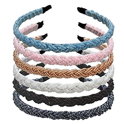 ANBALA Braided Rhinestone Beaded Headband, 6 Pack Fashion Crystal Beaded Headbands Bridal Prom Wedding Headband Hair Accessories for Women best fashion headbands