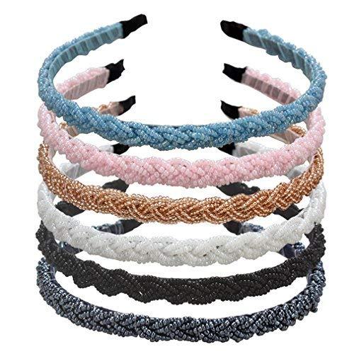 ANBALA Braided Rhinestone Beaded Headband, 6 Pack Fashion Crystal Beaded Headbands Bridal Prom Wedding Headband Hair Accessories for Women
