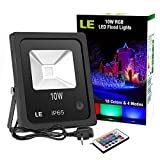 LE 10W RGB LED Flood Lights,Remote Control,Colour Changing LED Security Light, 16 Colours & 4 Modes,Dimmable,Waterproof LED Floodlight, UK 3-Plug, Wall Washer Light,For Christma