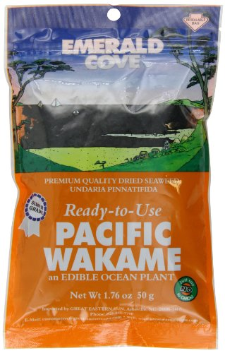 Emerald Cove Silver Grade Wakame (Dried Seaweed), 1.76 Ounce Bag (Vegetable Sea Wakame)