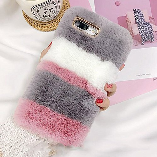 Fluffy Case for Galaxy S9 Plus, Galaxy S9 Plus Faux Fur Case, Luxury Cover Washable Plush Cover Bling Soft Silicone Shell Imitation Rabbit Fur Bunny Furry Protective Phone - Individual Grey Basic Rhinestones