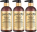 PURA DOR Anti Hair Loss tHCXjY Shampoo, Effective Solution for Hair Thinning & Breakage, 16 Fluid Ounces, Gold Label Anti-Hair Loss Shampoo (Pack of 3)